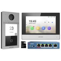 Kit videointerfon IP Hikvision DS-KIS604-S wifi , card