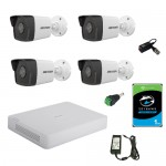 Kit complet supraveghere 4 camere exterior Hikvision 2mp , IR 30m ,2.8mm , 1TB , accesorii incluse