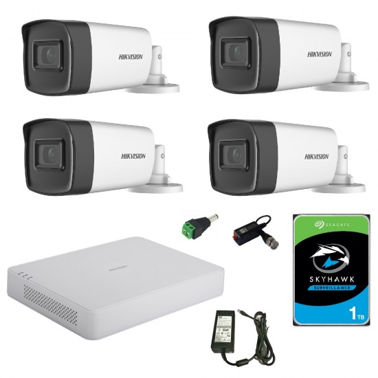 Kit Complet supraveghere 4 camere exterior Hikvision 5mp , IR 30m ,2.8mm , 1TB , accesorii incluse