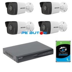 Kit Complet Supraveghere IP 4 camere exterior Hikvision 2mp , IR 30m ,2.8mm , POE , HDD 1TB