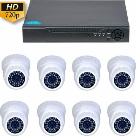 Kit supraveghere Interior Guard View , 1MP 720P, 8 camere dome